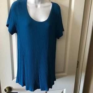 LLR, Teal Blue Ribbed Classic T, Worn Once!